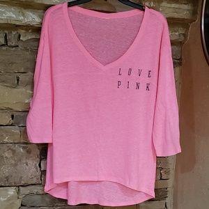 EUC Victoria's Secret Pink Hi Low V Neck Tee - L